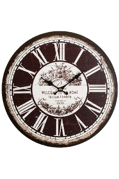 """wall clock """"Welcome"""", wooden"""