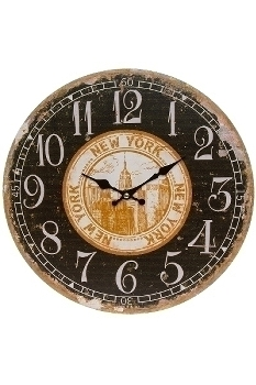 "wall clock ""New York"", wooden"