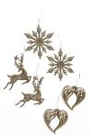 6er-Set Weihnachtsanhänger, Silberglitter