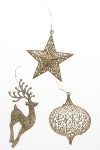 3er-Set Weihnachtsanhänger, Silberglitter