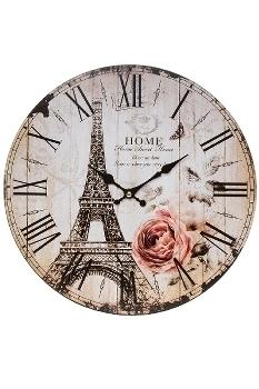 """wall clock """"Eiffelturm I"""", wooden"""