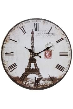 "wall clock ""Eiffelturm II"", wooden"