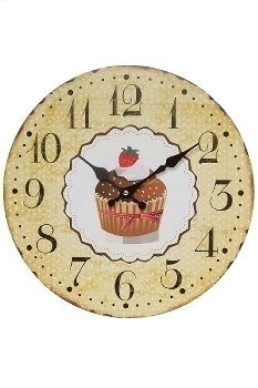 "wall clock ""Cupcake brown"", wooden"