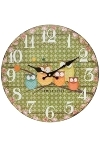 "wall clock ""Owl"", wooden"