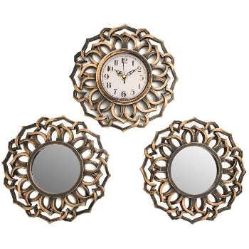 3-25X25cm mirror decoration and wall clock, 2*mirror + 1*wallclock