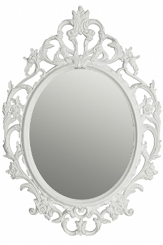 "baroque mirror ""King Ludwig"", white brushed gold"