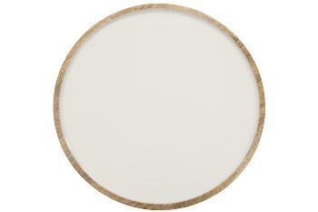 Woodenplate, white, dia. 26 cm