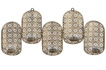 metal wall sconce with 5pcs glass