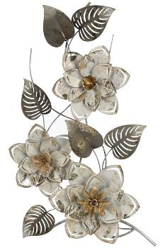 Wandbild Blumen, silber/weiss, aus Metall
