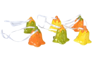 set/6 hanging bells, in color: orange with green dots, yellow with orange dots,