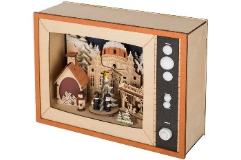 wooden decoration with motor,singer and small figuries  5LED with 3AA battery