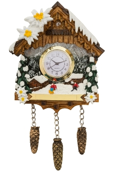 PC WINTER CUCKOO CLOCK LANDSCAPE PENDANT WITH RIBBON WITH CLOCK WITH HOOK WITH