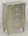 WOODEN CURVED SIDED 4 DRAWER CHEST W/HAMMERRED DESIGN WHITE METAL CLADDING