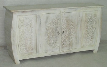 WOODEN CURVED DESIGN 2 DOORS SIDE BOARD W/CARVING ON FRONT