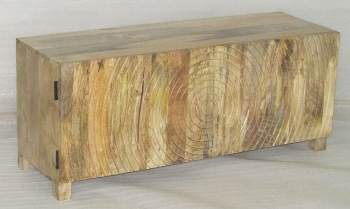 WOODEN 2 DOORS LOW BOARD W/ROUND CARVING