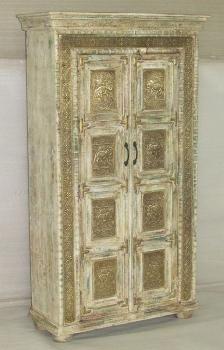 WOODEN 2 DOORS ALMIRAH W/ELEPHANT DESIGN BRASS DECORS
