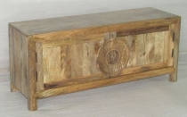 WOODEN 2 DOORS T.V.CABINET W/CARVED ROUND HANDLE
