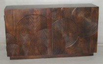 WOODEN 2 DOOR SIDE BOARD W/CIRCLE DESIGN CNC CARVING