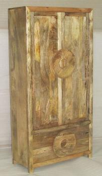 WOODEN 2 DOORS & 2 DRAWERS ALMIRAH W/CIRCLE DESIGN HANDLE