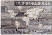 "WOODEN WALL PLAQUE ""OLD WORLD MAP""  WITH LED"