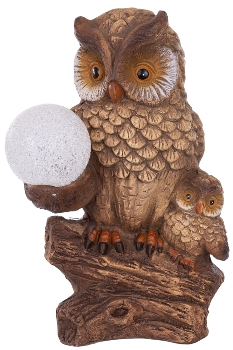 OWL on TRUNK W/BALL, with batterybox for outdoor using IP44