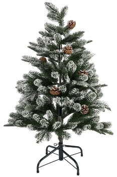 100CM FULL PE TREE WITH 231 TIPS SNOWY PINECONE BRUSHED WHITE