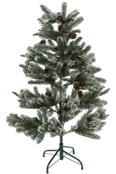 120CM FULL PE TREE WITH 315 TIPS SNOWY PINECONE BRUSHED WHITE METAL STAND