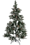 150CM FULL PE TREE WITH 479 TIPS SNOWY PINECONE BRUSHED WHITE METAL STAND