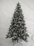 180CM FULL PE TREE WITH 707 TIPS SNOWY PINECONE BRUSHED WIHTE METAL STAND