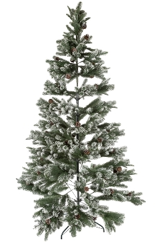 210CM FULL PE TREE WITH 1043 TIPS SNOWY PINECONE BRUSHED WHITE METAL STAND