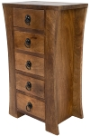 MANGO WOOD  & M.D.F CURVED SIDED 5 DRAWER CHEST