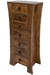 MANGO WOOD & M.D.F WOODEN CURVED SIDED 7 DRAWER CHEST