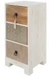 MANGO WD/MDF 3 DRAWERS CHEST W/EMBOSSED WHITE METAL / LEATHER CLADDING