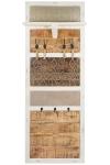 MANGO WOOD FOLDABLE SHELF WARDROBE W/WHITE METAL, LEATHER, NAILS & 7 IRON