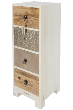 MANGO WD/MDF 4 DRAWERS CHEST W/EMBOSSED WHITE METAL / LEATHER CLADDING