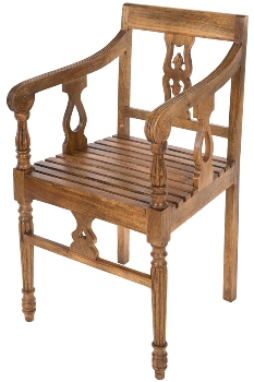 MANGO WOOD ARM CHAIR W/CARVING