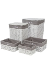 "clothesbasket ""Home"", set of 5, white/grey"