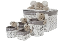 Set 5 white willow basket, with grey elephant