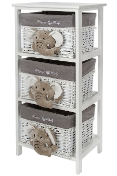 "chest of drawers ""Happy Elefant"", white/grey,"