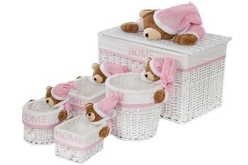 "clothesbasket ""Sleepy Bear"", set of 5, white/pink"