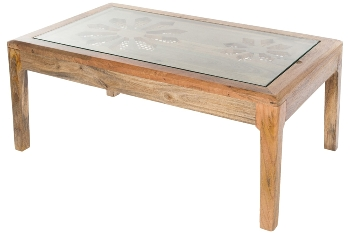 MANGO WOODCOFFEE TABLE W/CANE & GLASS TOP – K.D. LEGS-NATURAL FINISH-100X60X45