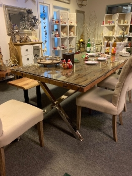 dining table X legs with Glass Top KD