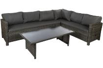 Steel 3pcs corner sofa set Steel frame, 5mm black tempered glass top, PE