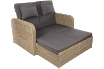 Steel functional lounger, with recliner back and shelf in armrest Steel