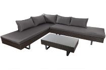 Steel 3pcs corner sofa set Steel frame & legs,5mm clear tempered glass. PE