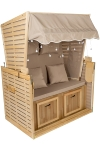 Double seat beach chair with LED, Water base varnish Pine wood frame, non