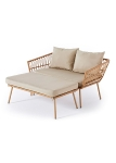 Semi KD Steel 2 seat lounger sofa cream Round wicker 6mm, 180gr polyester