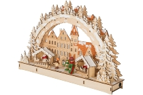 LED Schwibbogen: Weihnachtsmarkt. Aus Holz,