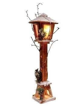 small wooden street lantern with snow deco with 10 LEDs, battery operated for