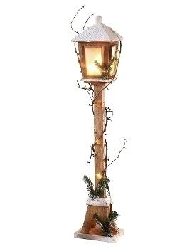 Holzlaterne, 100cm h m. 15er Lichterkette